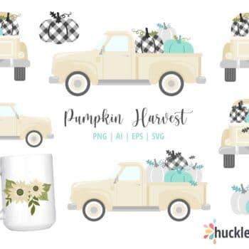 Assorted Pumpkin Harvest Trucks Clipart