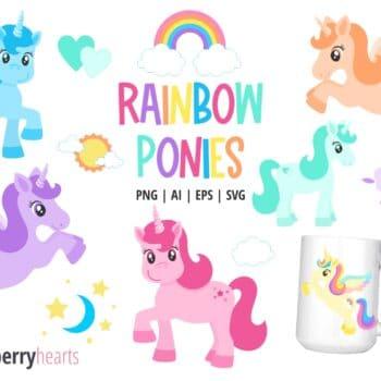 Assorted Rainbow Unicorn Clipart