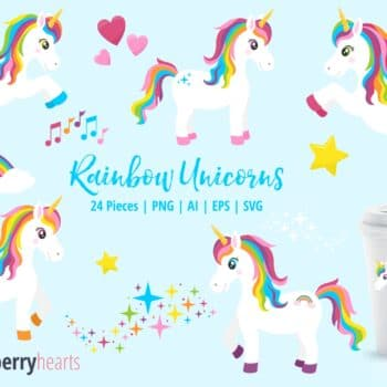 Assorted Rainbow Unicorn Clipart Set