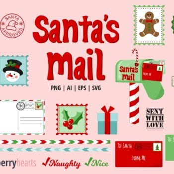 Christmas Mail Clipart with Stamps and Envelopes