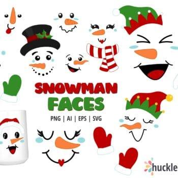 Assorted Snowman Faces Clipart