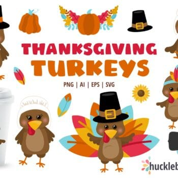 Assorted Thanksgiving Turkey Character clipart set