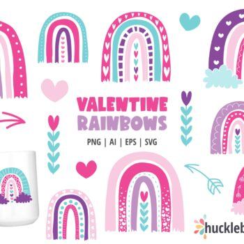 Assorted Valentine's Day themed rainbow cliparts