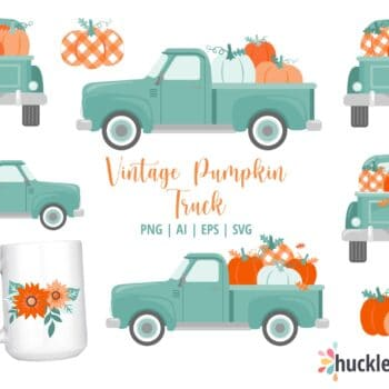 Assorted Vintage Truck and Pumpkin Cliparts