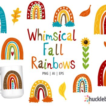 Whimsical Autumn Rainbows Clipart Set