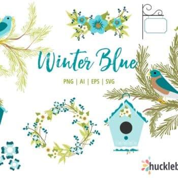 Winter Blue Birdhouses Clipart
