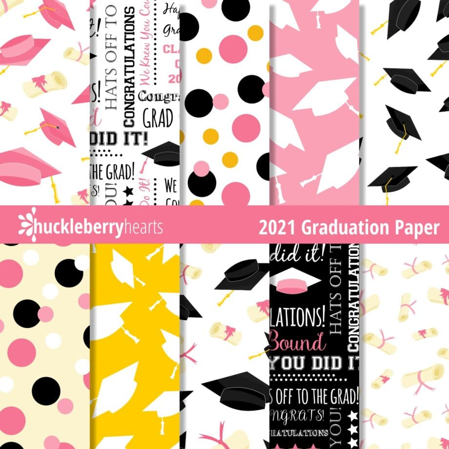 Assorted Graduation Themed Digital Scrapbook paper